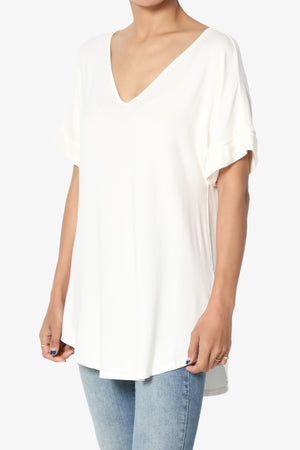 Tracey Wide V-Neck Jersey Top