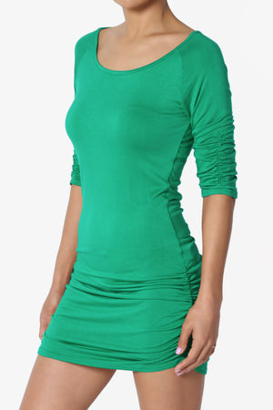 Havana 3/4 Sleeve Ruched Tunic - TheMogan