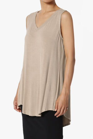 Myles Sleeveless V-Neck Luxe Jersey Top ADD COLOR