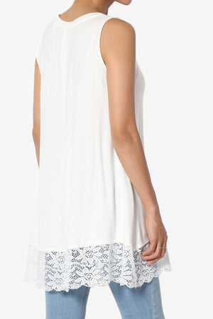 Nason Sleeveless Lace Hem Tunic - TheMogan