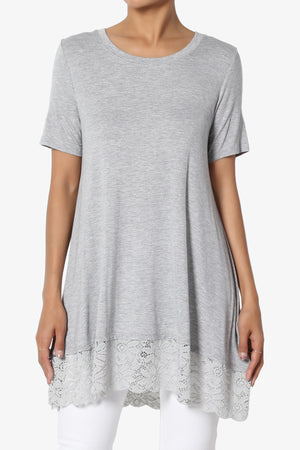 Nason Short Sleeve Lace Hem Tunic