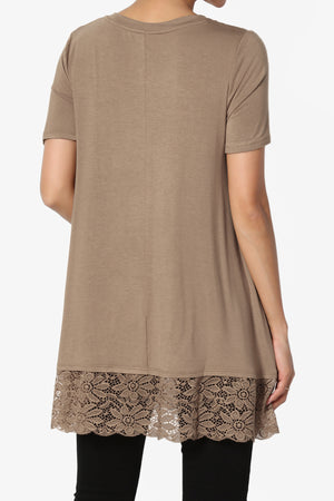 Nason Short Sleeve Lace Hem Tunic ADD COLOR