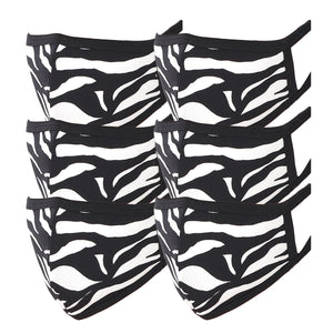 3 PACK Washable Cotton MASK With Filter Pocket Zebra