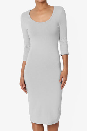 Addy 3/4 Sleeve Cotton Midi Dress - TheMogan