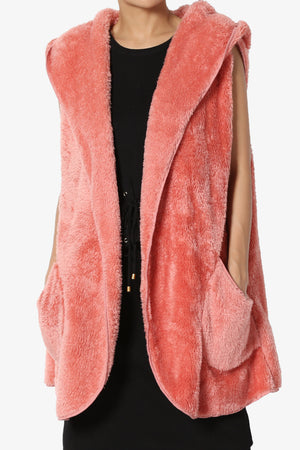Kora Sleeveless Coziest Pocket Hooded Cardigan - TheMogan