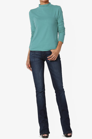 Lasso Cotton Mock Neck Top - TheMogan