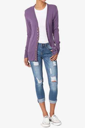 Braeden Snap Button V-Neck Cardigan - TheMogan