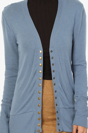 Braeden Snap Button V-Neck Cardigan PLUS More Colors - TheMogan