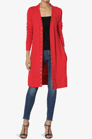 Braeden Snap Button Long Cardigan PLUS More Colors - TheMogan