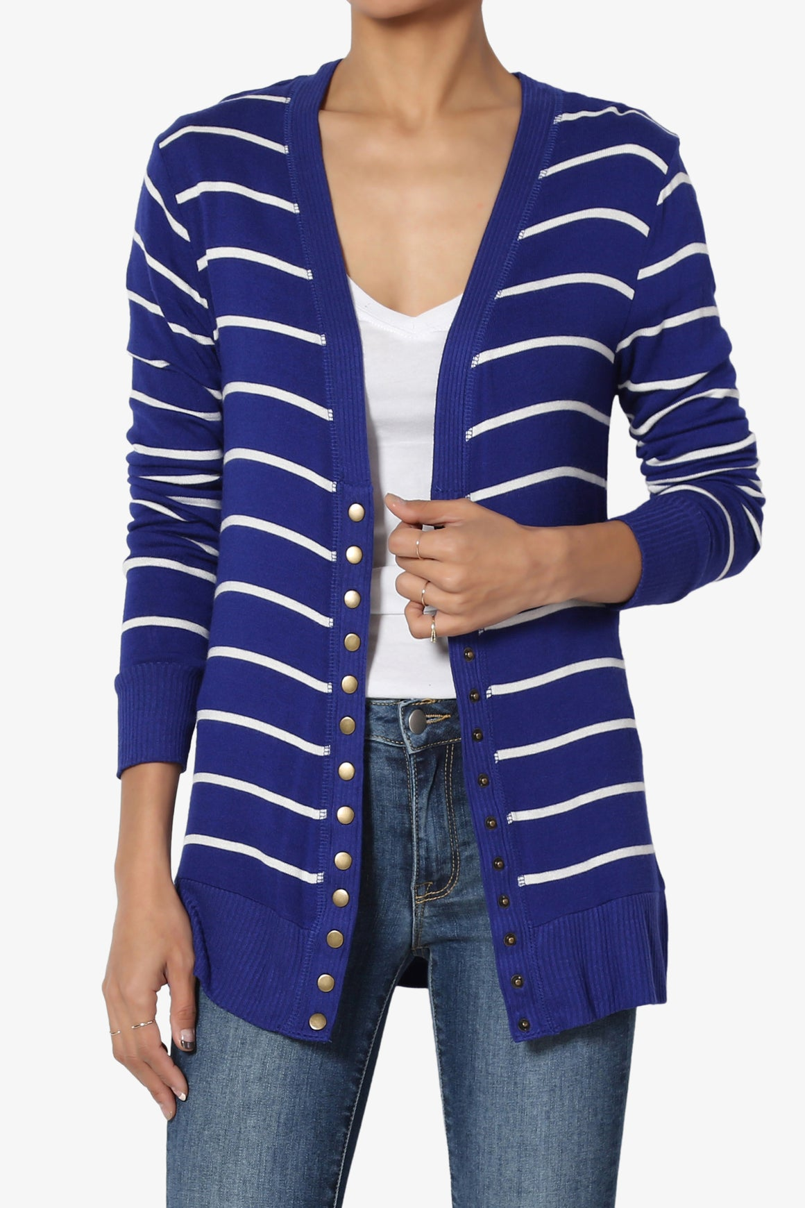 Braeden Striped Snap Button Cardigan PLUS