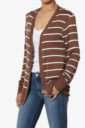 Braeden Striped Snap Button Cardigan - TheMogan