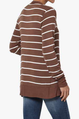 Braeden Striped Snap Button Cardigan PLUS - TheMogan