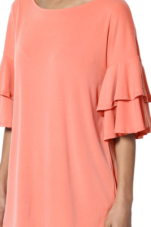 Omere Tiered Bell Sleeve Blouse - TheMogan