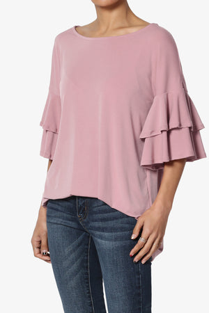 Omere Tiered Bell Sleeve Blouse More Colors - TheMogan
