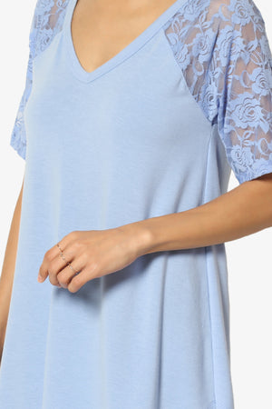 Helisa Lace Sleeve Jersey Top - TheMogan