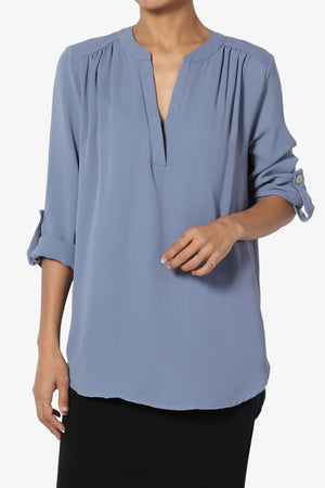 Alia Shirred Split Neck Blouse