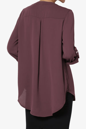 Alia Shirred Split Neck Blouse PLUS - TheMogan