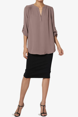 Alia Shirred Split Neck Blouse - TheMogan