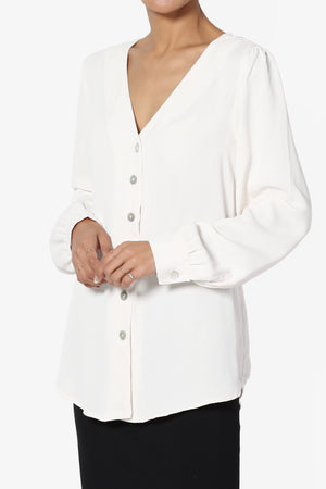 Leena V-Neck Button Front Blouse - TheMogan