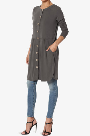 Karly Button Front Dress Cardigan PLUS