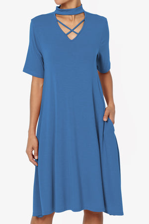 Faxon Cutout Mock Neck Pocket Dress - TheMogan