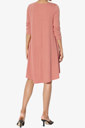 Ariella 3/4 Sleeve Strappy Scoop Neck Dress