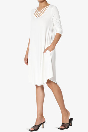 Ariella 3/4 Sleeve Strappy Scoop Neck Dress ADD COLOR