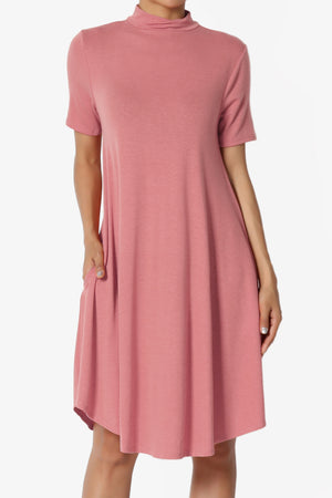 Clio Short Sleeve Mock Neck Pocket Dress - TheMogan