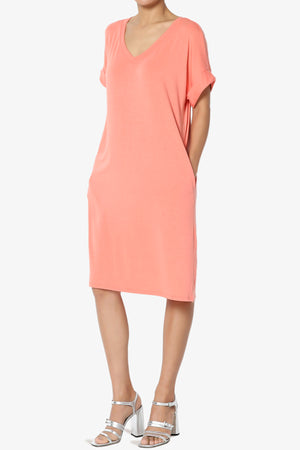Cliff Rolled Short Sleeve V-Neck Dress