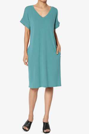 Cliff Rolled Short Sleeve V-Neck Dress PLUS