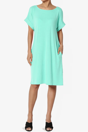 Janie Rolled Short Sleeve Round Neck Dress