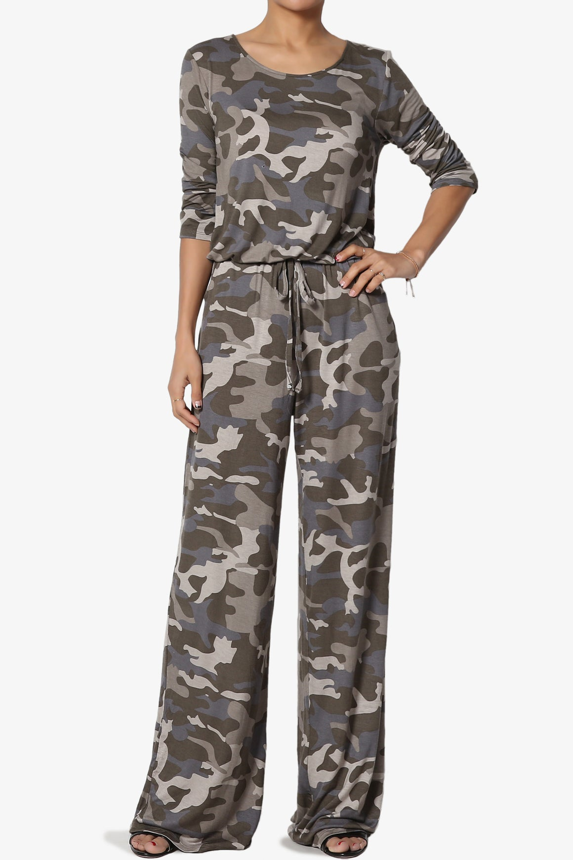 TheMogan Draped Woven Elastic Waist Wide Leg Pants in Floral Print with Stripe