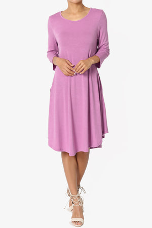 Squish Pocket 3/4 Sleeve T-Shirt Dress - TheMogan