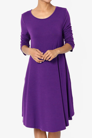 Squish Pocket 3/4 Sleeve T-Shirt Dress ADD COLOR - TheMogan