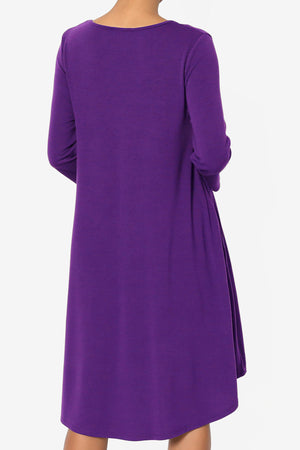 Squish Pocket 3/4 Sleeve T-Shirt Dress More Colors - TheMogan