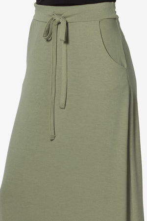 Izzie Drawstring Pocket Jersey Maxi Skirt - TheMogan
