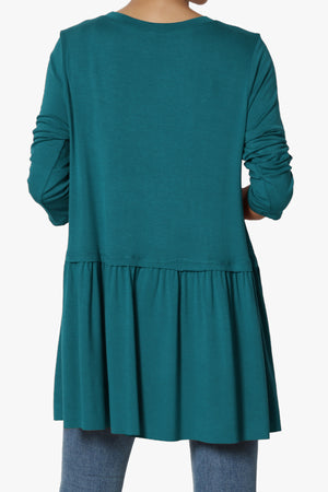 Tofino 3/4 Sleeve Pleated Peplum Top ADD COLOR