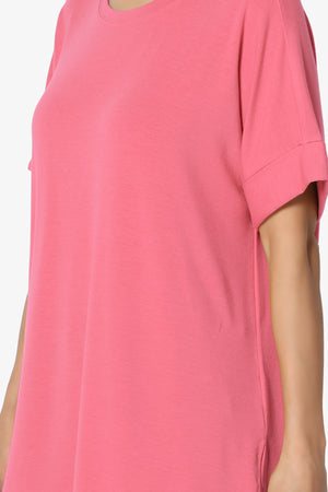 Onella Round Neck Rolled Short Sleeve Top PLUS