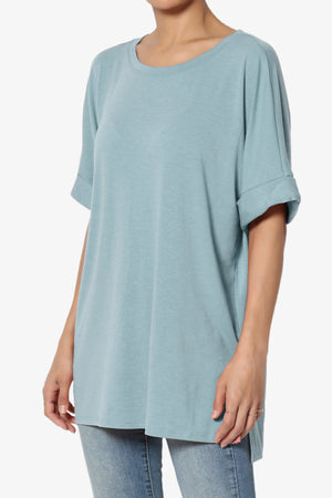 Onella Round Neck Rolled Short Sleeve Top