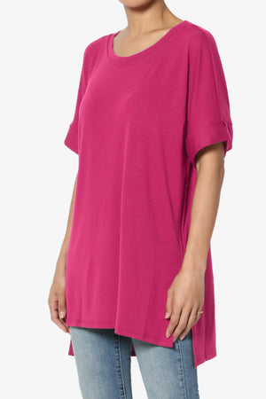 Onella Round Neck Rolled Short Sleeve Top ADD COLOR