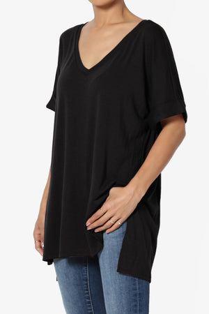 Onella V-Neck Rolled Short Sleeve Top - TheMogan