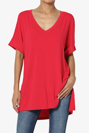 Onella V-Neck Rolled Short Sleeve Top ADD COLOR