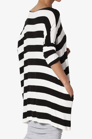 Timp Stripe Drop Shoulder Tunic Top