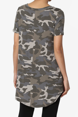 Quintana Camo Boat Neck Short Sleeve Top - TheMogan