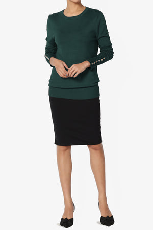 Carnot Button Sleeve Crew Neck Knit Top PLUS - TheMogan