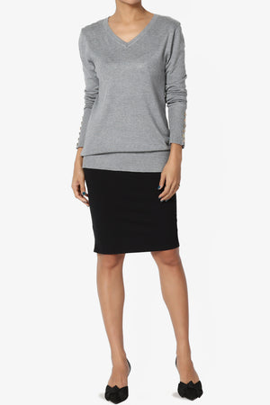 Carnot Button Sleeve V-Neck Knit Top PLUS - TheMogan