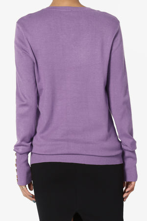 Carnot Button Sleeve V-Neck Knit Top - TheMogan