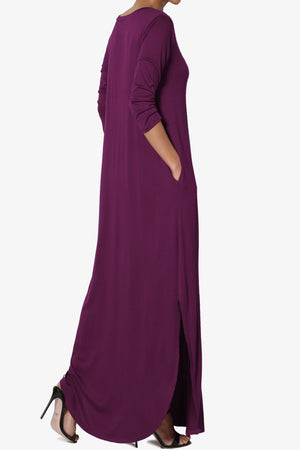 Lanie 3/4 Sleeve Split Hem Maxi Dress - TheMogan