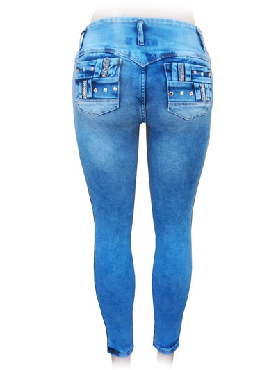 Bluette's Push-Up Skinny Jeans - Strips