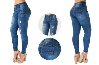 Bluette's Push-Up Skinny Jeans-4  buttons